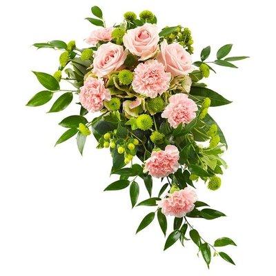 Rouwarrangement in roze en groen